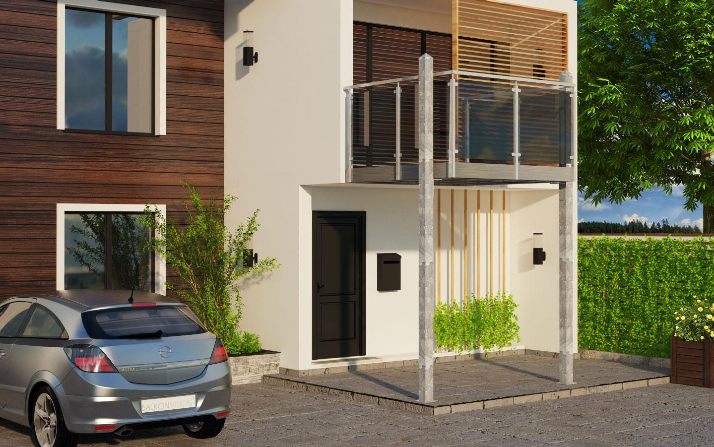 anbaubalkon seitliche st tzen vorgebautes gel nder edestahlverblendung 2 x 2 meter. Black Bedroom Furniture Sets. Home Design Ideas